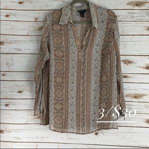 Lane Bryant 14-16 tunic top long sleeve semi sheer